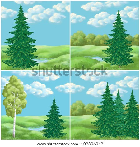 Picture, hand-draw: set landscapes, green summer forest