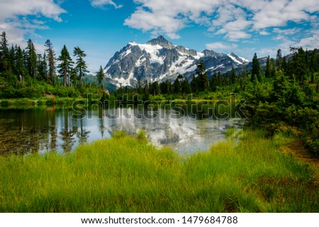 Picture Lake and Mt. Shuksan, Washington. Picture Lake is the centerpiece of a strikingly beautiful landscape in the Heather Meadows area of the Mt. Baker-Snoqualmie National Forest. #1479684788