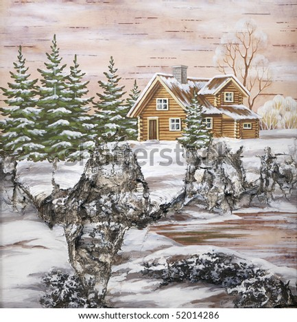 Picture, landscape, house in forest. Handmade, drawing distemper on a birch bark
