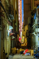 picture of a backstreet in Kowloon, Hong Kong, at night
