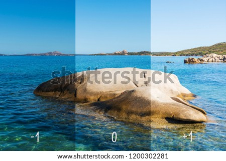 picture of a beach with different exposures: -1 stop, neutral and +1 stop