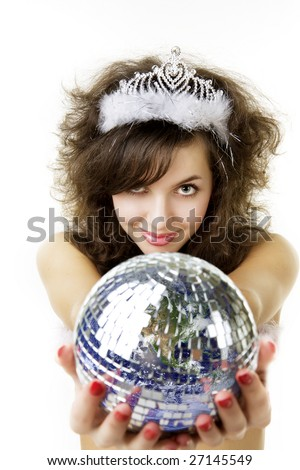 Picture of a beautiful girl, who keeps the ball in the form of the planet Earth in the hands of - stock photo