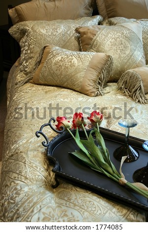 Picture of a bed set up very nice