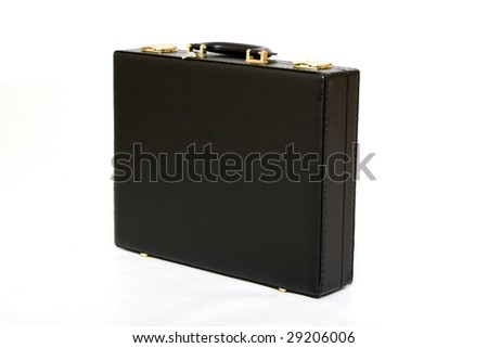 Picture of a black leather suitcase view from top