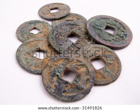 Picture of a bulk lot of old chinese coins.