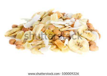Picture of a bunch of nuts and dried fruits together