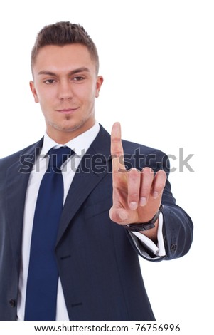 picture of a business man pressing an imaginary button over white