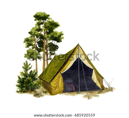 Picture of a camp in a forest hand painted in watercolor