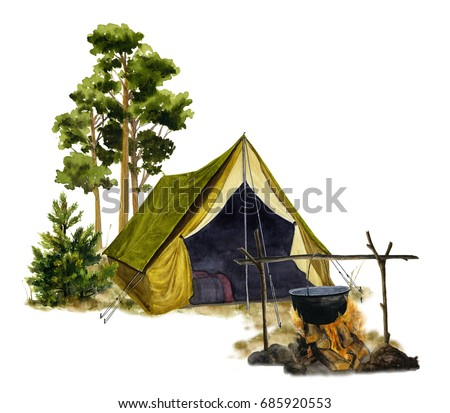 Picture of a campsite with a tent and a campfire hand painted in watercolor