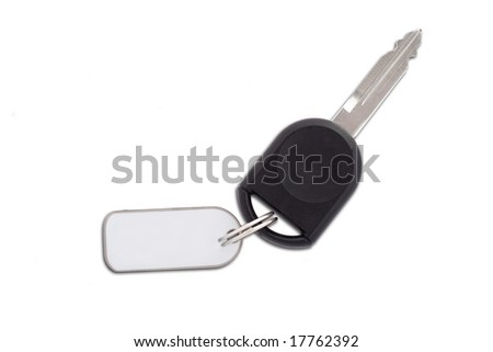 Picture of a car key with blank plate for text