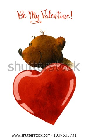 Picture of a cartoon bear with a red heart. The illustration is hand painted in watercolor on the white background.  #1009605931