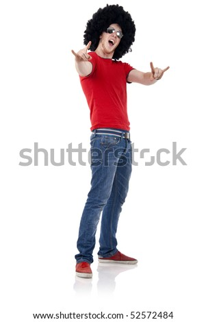 picture of a casual man with big black wig making a rock and roll sign - stock photo