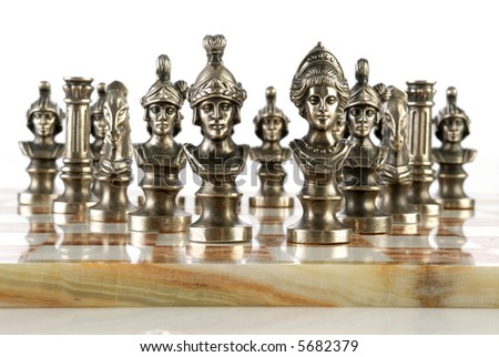 Picture of a chess made of metal