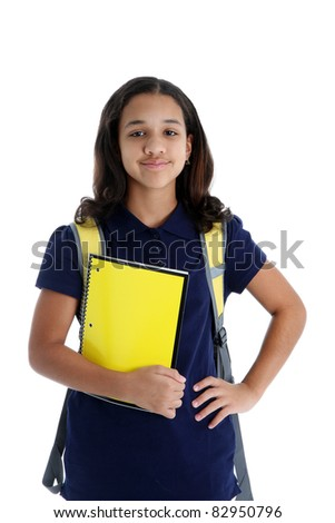 Picture of a child going to school set on white background