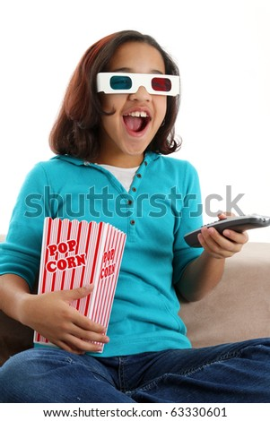 Picture of a child set watching a movie on white background