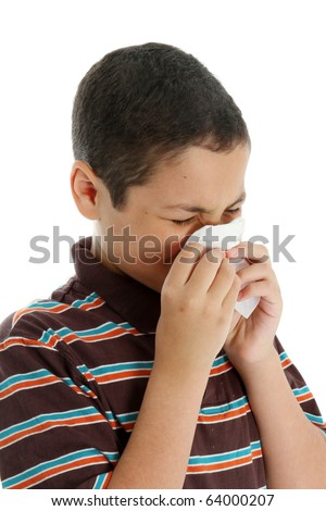 Picture of a child sneezing on white background - stock photo