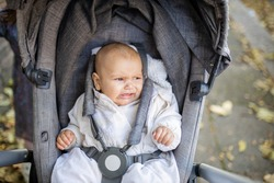 Picture of a distressed baby in a gray stroller looking at the distance and crying with the sidewalk covered in autumn leaves as background