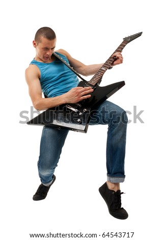 picture of a dynamic rock star playing an elctric guitar