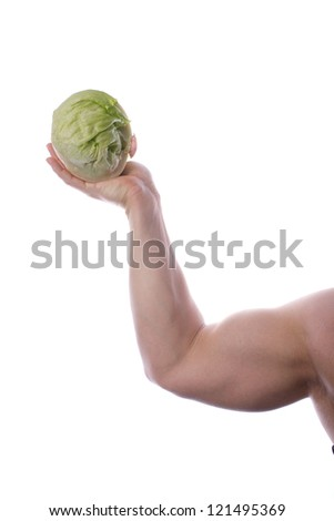 Picture of a fit, muscular body holding vegetables, on a white, isolated background