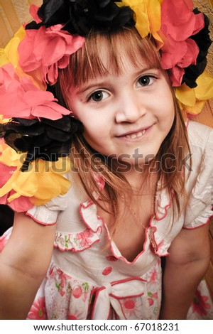 Picture of a funny little girl playing  model