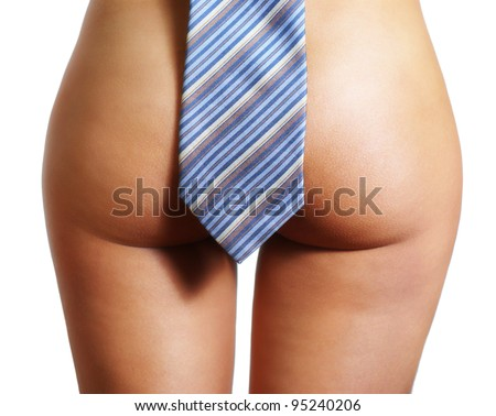 Picture of a girl's buttocks with tie