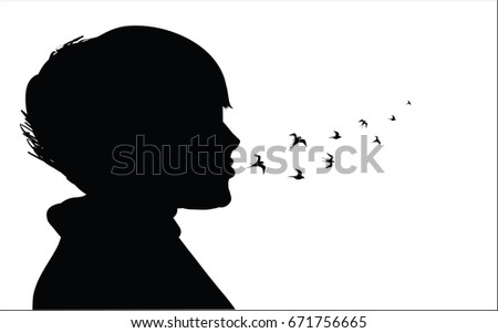 Stock Photo Picture of a girl who breathes birds