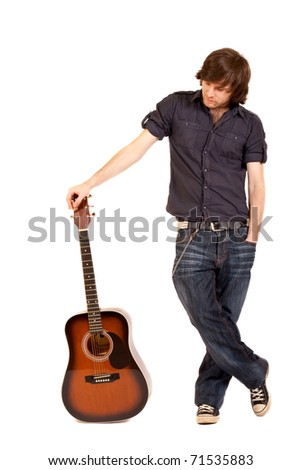 picture of a guitarist with acoustic guitar over white