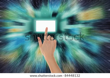 picture of a hand finger pushing virtual keypad button