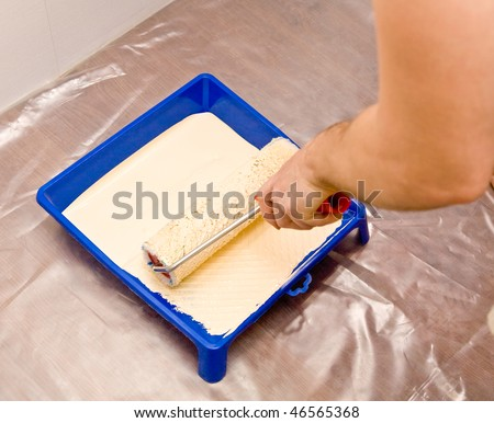 Picture of a hand with roller and tray with paint