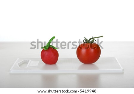 Picture of a healthy tomato and a fake one (concept about healthy food VS plastic food)