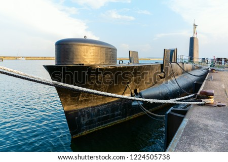 picture of a historical submarine boat in the harbor of Sassnitz, Ruegen, Germany
