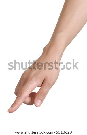Picture of a human hand pointing with finger, on a white background