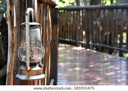 Picture of a hurricane lantern in South Africa.