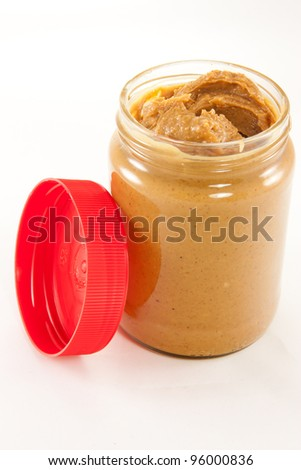 Picture of a jar of delicious peanut butter with a lid