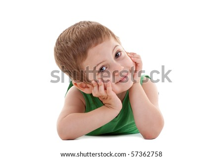 picture of a kid laying down and holding his head in his palms, over white