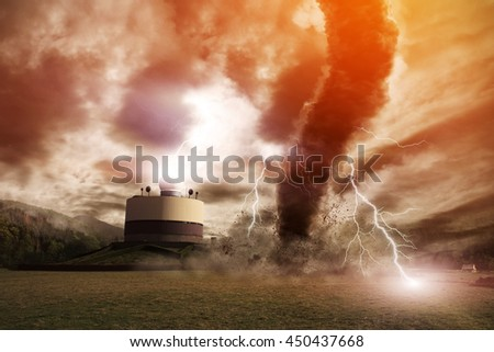 Picture of a large tornado destroying the landscape