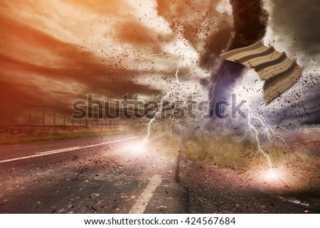 Picture of a large tornado destroying the landscape '3D rendering'