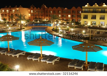 Picture of a luxury arabic hotel territory at night