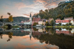 Picture of a panorama city view of the market Kallmünz Kallmuenz in Bavaria and the rivers Naab and Vils and the castle ruin on the mountain, Germany