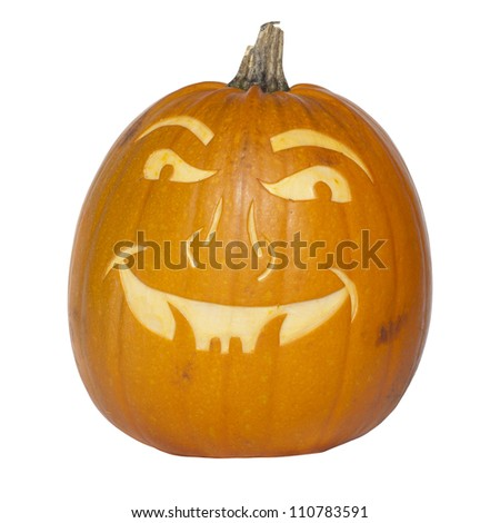 Picture of a pumpkin, with a scary face cut in the surface Isolated, white background
