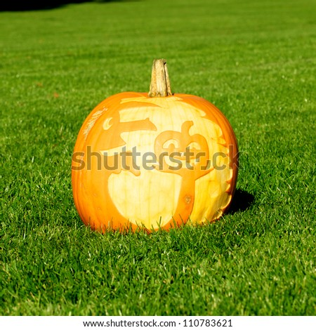 Picture of a pumpkin, with silhouette of a witch and a pumpkin cut in the surface Standing on a lawn - stock photo