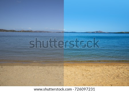 picture of a quiet beach and sea before and after the image editing process