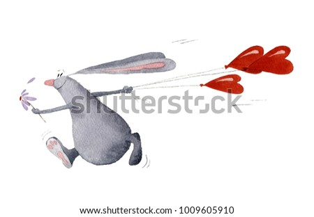 Picture of a rabbit running with the heart shaped air balloons. The illustration is hand painted in watercolor on the white background.  #1009605910