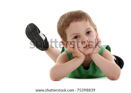 picture of a sad little boy lying on a white background
