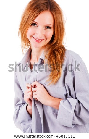 Picture of a sweet young girl in shirt on white background #45817111