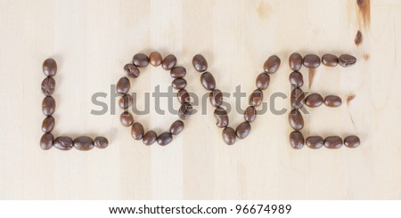 Picture of a the word LOVE made of coffee beans