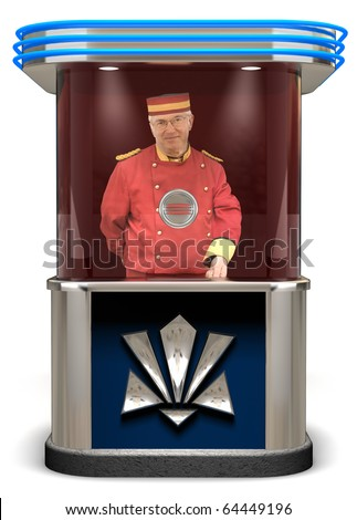 Picture of a ticket booth on white background with an elderly man behing the booth holding a ticket with a smile.
