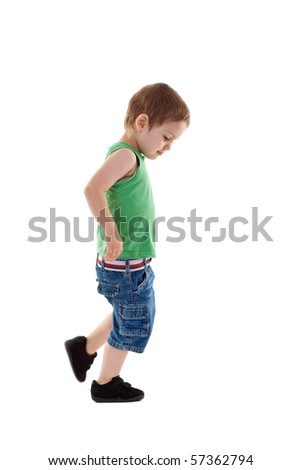 picture of a walking small boy, over white background