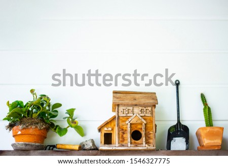 Picture of a white wall with miscellaneous decorations #1546327775
