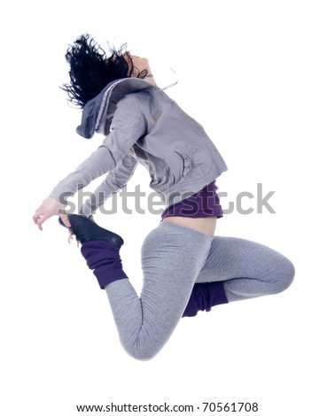 picture of a woman dancer jumping on a white background
